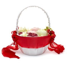 Pretty Flower Basket in Satin With Sash (102047306)