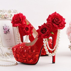 Women's Suede Stiletto Heel Platform Pumps With Rhinestone Ribbon Tie Flower (047113725)