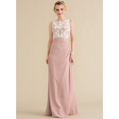 Scoop Neck Floor-Length Chiffon Lace Evening Dress With Ruffle (271194551)