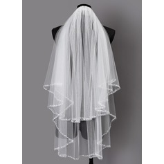 Two-tier Beaded Edge Elbow Bridal Veils With Sequin (006203714)