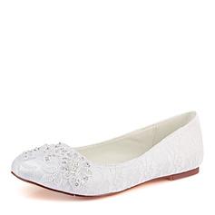 Frauen Spitze Seide wie Satin Flascher Absatz Geschlossene Zehe Flache Schuhe mit Pailletten Stich Spitzen Perle
