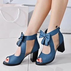 Women's Leatherette Chunky Heel Sandals Pumps Peep Toe With Bowknot shoes