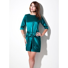 Sheath/Column Scoop Neck Short/Mini Charmeuse Cocktail Dress With Sash