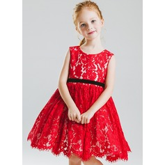 A-Line/Princess Knee-length Flower Girl Dress - Lace Sleeveless Scoop Neck With Sash