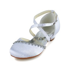 Girl's Closed Toe Satin Flat Heel Flats Flower Girl Shoes With Buckle Rhinestone