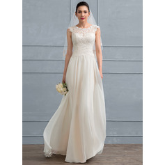 A-Line/Princess Scoop Neck Floor-Length Chiffon Lace Wedding Dress With Beading Sequins (002117036)