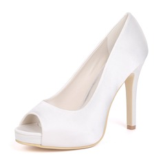 Women's Silk Like Satin Stiletto Heel Platform Pumps With Others (273208541)