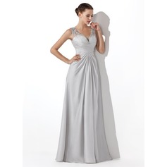 A-Line/Princess V-neck Floor-Length Satin Chiffon Prom Dresses With Ruffle Beading