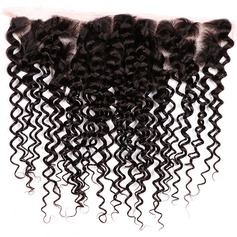 "13""*4"" 4A Non remy Kinky Curly Human Hair Closure (Sold in a single piece) 100g"