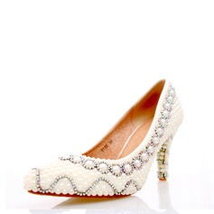 Women's Real Leather Stiletto Heel Pumps With Pearl Chain