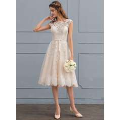 A-Line/Princess Scoop Neck Knee-Length Tulle Lace Wedding Dress With Bow(s) (002117037)