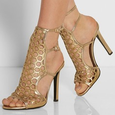 Women's Leatherette Stiletto Heel Sandals With Buckle Hollow-out shoes (087114603)