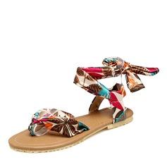 Frauen Stoff Flascher Absatz Sandalen Flache Schuhe Peep Toe Slingpumps mit Bowknot Schuhe