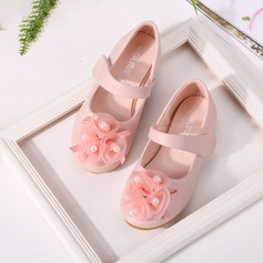 Girl's Round Toe Mary Jane Microfiber Leather Flat Heel Flats Flower Girl Shoes With Imitation Pearl Satin Flower
