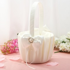 Classic Flower Basket in Satin With Ribbon & Faux Pearl