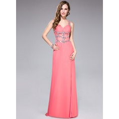 Trumpet/Mermaid Sweetheart Sweep Train Chiffon Prom Dresses With Ruffle Beading Sequins Split Front