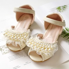 Jentas Titte Tå Leather flat Heel Flate sko Flower Girl Shoes med Bowknot Velcro Perle