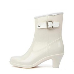 Women's PVC Chunky Heel Boots Mid-Calf Boots Rain Boots With Buckle shoes