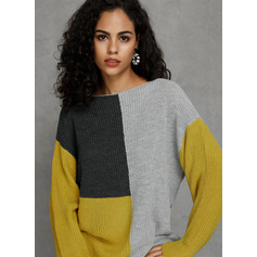 Color Block Ribbed Chunky knit Polyester Round Neck Pullovers Sweaters (1002223042)