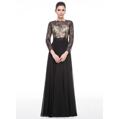 A-Line/Princess Scoop Neck Floor-Length Chiffon Lace Evening Dress With Beading Sequins
