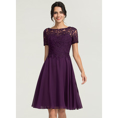 Scoop Neck Knee-Length Chiffon Cocktail Dress (270214163)