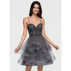 A-Line/Princess Strapless Knee-Length Tulle Homecoming Dress With Beading Cascading Ruffles