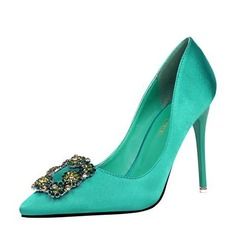Women's Satin Stiletto Heel Closed Toe Pumps Sandals With Buckle