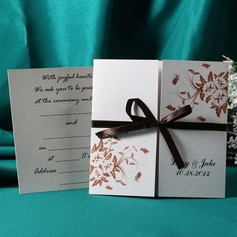 Personalized Floral Style Gate-Fold Invitation Cards With Ribbons