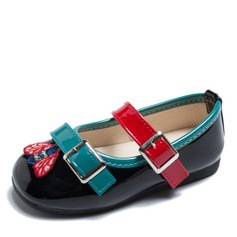 Girl's Round Toe Closed Toe Leatherette Flat Heel Flats With Buckle Applique