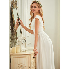 V-neck Floor-Length Chiffon Lace Wedding Dress (265255538)