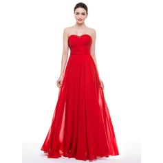 A-Line/Princess Sweetheart Floor-Length Chiffon Prom Dress With Ruffle Beading Appliques Lace Sequins Bow(s)