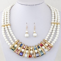 Gorgeous Alloy Rhinestones Imitation Pearls With Imitation Pearl Rhinestone Ladies' Jewelry Sets