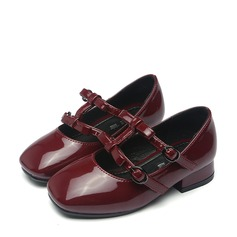 Girl's Patent Leather Flat Heel Mary Jane Flats With Buckle