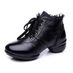 Women's Real Leather Boots Practice With Lace-up Dance Shoes