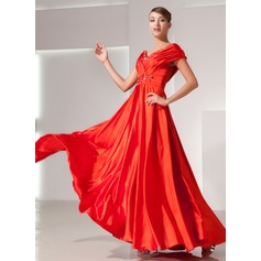 A-Line/Princess Off-the-Shoulder Floor-Length Charmeuse Holiday Dress With Ruffle Beading