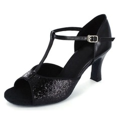Women's Sparkling Glitter Patent Leather Heels Latin With T-Strap Dance Shoes