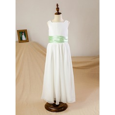 A-Line/Princess Ankle-length Flower Girl Dress - Chiffon/Satin Sleeveless Square Neckline With Sash