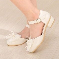 Girl's Leatherette Flat Heel Round Toe Flats With Beading Bowknot