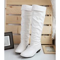 Kadın Suni deri Alçak Topuk Kapalı Toe Bot Diz Yüksek Boots Diz Boots fazla Ile Büzgü ayakkabı