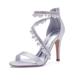 Women's Satin Stiletto Heel Sandals With Pearl