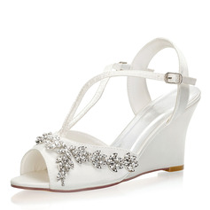 Women's Silk Like Satin Wedge Heel Peep Toe Slingbacks Wedges With Buckle Crystal