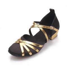 Women's Satin Sandals Ballroom With Buckle Hollow-out Dance Shoes