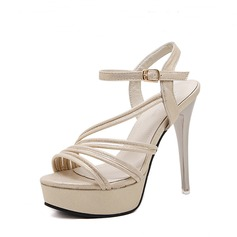 Women's Suede PU Stiletto Heel Sandals Pumps Peep Toe Slingbacks With Buckle shoes