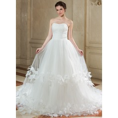 Ball-Gown Sweetheart Chapel Train Tulle Wedding Dress With Ruffle Flower(s)