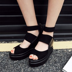 Women's Leatherette Cone Heel Sandals With Zipper Hollow-out shoes