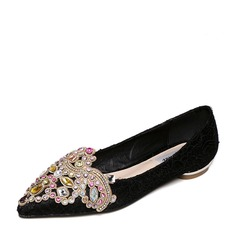 Women's Lace Flat Heel Flats Closed Toe With Rhinestone shoes
