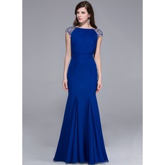 Trumpet/Mermaid Scoop Neck Floor-Length Chiffon Evening Dress With Beading