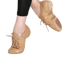Women's Real Leather Flats Jazz Dance Shoes (053121374)