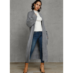 Solid Polyester Cardigans Sweaters (1002223231)