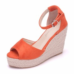 Women's Leatherette Wedge Heel Sandals Wedges With Buckle shoes